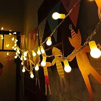 uping® LED luz cadena 100pelotas AC conector de la UE con DC 31V Baja Voltaje Transformador y 8programa para fiestas, Jardín, Navidad, Halloween, boda, iluminación decorativa en interiores y exteriores etc. resistente al agua 12M blanco cálido