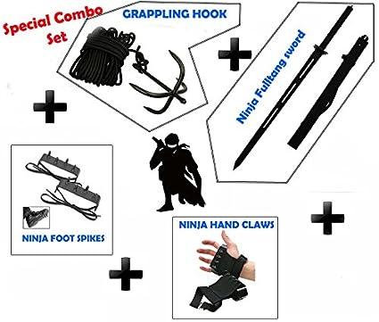 "NINJA Special Combo Grappling Hook,Hand claws,Foot Spike & 40"" Heavy Duty Ninja Full tang Sword."