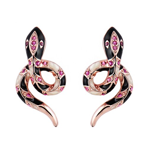 Chaomingzhen Gold Plated Snake Stud Earrings for Women Austrian Crystal Fashion Jewelry