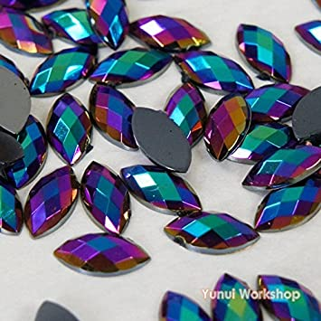 AB Colors Horse Eye Shape Acrylic Flatback Rhinestones Scrapbook Nail Craft