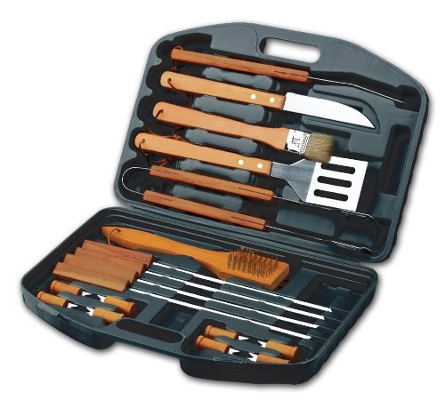Chefs Basics HW5231 18-Piece Stainless-Steel Barbecue Grilling Tool Accessories Utensils Set with Spatula, Tongs, Forks, Brush, and Carrying Case