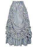 Belle Poque Women Victorian Dress Renaissance Skirt Costume (Blue White,2XL)