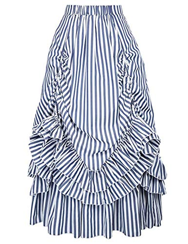 Belle Poque Women Victorian Dress Renaissance Skirt Costume (Blue White,2XL)]()