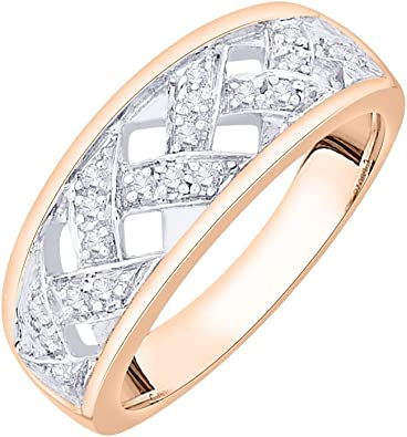 Size-12.25 G-H,I2-I3 Diamond Wedding Band in 14K White Gold 1//20 cttw,