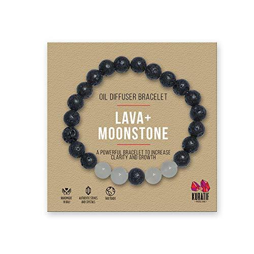 Healing White Moonstone and Lava Oil Diffuser Bracelet by Kuratif