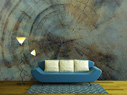 wall26 - Rings Year of Wood Texture - Removable Wall Mural | Self-adhesive Large Wallpaper - 100x144 (Large Oak Veneer)