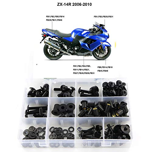 Xitomer Full Sets Fairing Bolts Kits, for Kawasaki NINJA ZX-14R ZZR1400 2006-2011, Mounting Kits Washers/Nuts/Fastenings/Clips/Grommets (Matte Black)