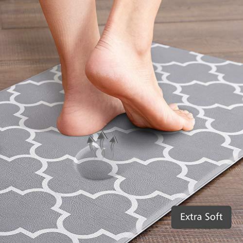 KMAT Kitchen Mat [2 PCS] Cushioned Anti-Fatigue Kitchen Rug, Waterproof Non-Slip Kitchen Mats and Rugs Heavy Duty PVC…