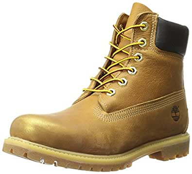 Timberland Women's 6 Inch Premium Boot, Wheat Rugged W Gold/Metallic Finish, 5 M US