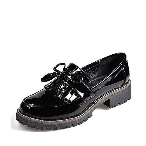 Zapatos De Plataforma con Punta Redonda Y Tacones Bajos con Borlas De Charol Oxfords Autumn Sewing Slip On: Amazon.es: Zapatos y complementos