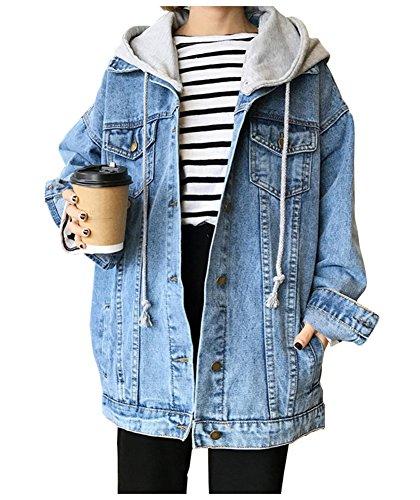 Kedera Women's Oversized Detachable Hoodie Denim Jackets Jean Coats XL (Light Blue, - Denim Coat Barn