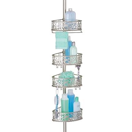 mDesign Estantería de ducha rinconera de metal – Estantería telescópica sin taladro para el baño – Elegante organizador de ducha para champú, ...