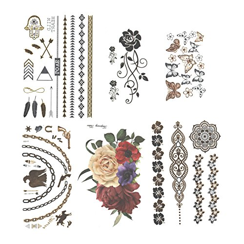 K.W. Temporary Henna Body Tattoo Stickers 6 Sheets For Men, Women & Kids | Realistic, Glimmering & Metallic Designs, Colorful Flowers & Tribal Skin Prints | Easy To Apply & ()