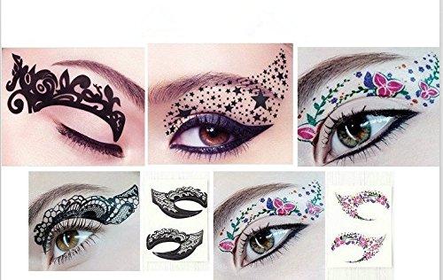 [1 Pair Black Color Eyes Winged 1 Pair Bridal Tear Proof Makeup Eyeliner Temporary Tattoo Dance Masquerade Party christmas Halloween-Random] (Masquerade Mask Tattoo)