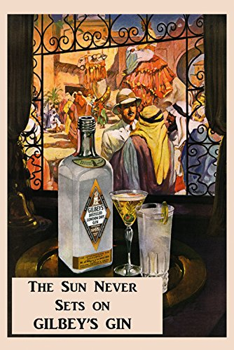 """Gilbey's Gin Casablanca Arab World Martini Tonic Drink Vintage Poster Repro 16"""" X 22"""" Image Size. We Have Other Sizes Available!"""