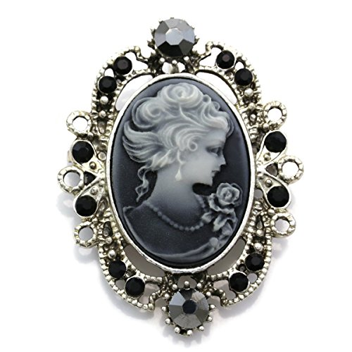 Gray Cameo Brooch Pin Charm Women Necklace Pendant Compatible