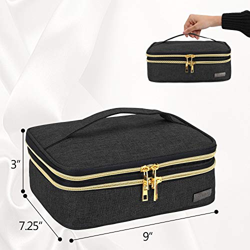 """Teamoy Travel Makeup Brushes Case, Professional Makeup Train Organizer Bag with Handle for Makeup Brushes and Beauty Essentials- Black(up to 8.8"""" Brushes)"""