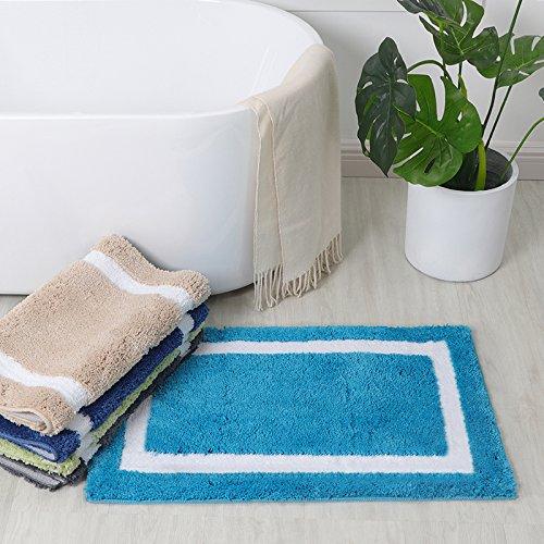 Turquoise Non Slip Bathroom Shower Mat Quick Drying Kitchen Floor Rug Doormat Machine Washable Seavish Microfiber Banded Bath Rug 20/'/'W x 32/'/'L