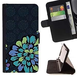 Momo Phone Case / Flip Funda de Cuero Case Cover - Pétalo de la vendimia Papel pintado retro azul - Samsung Galaxy S6 EDGE