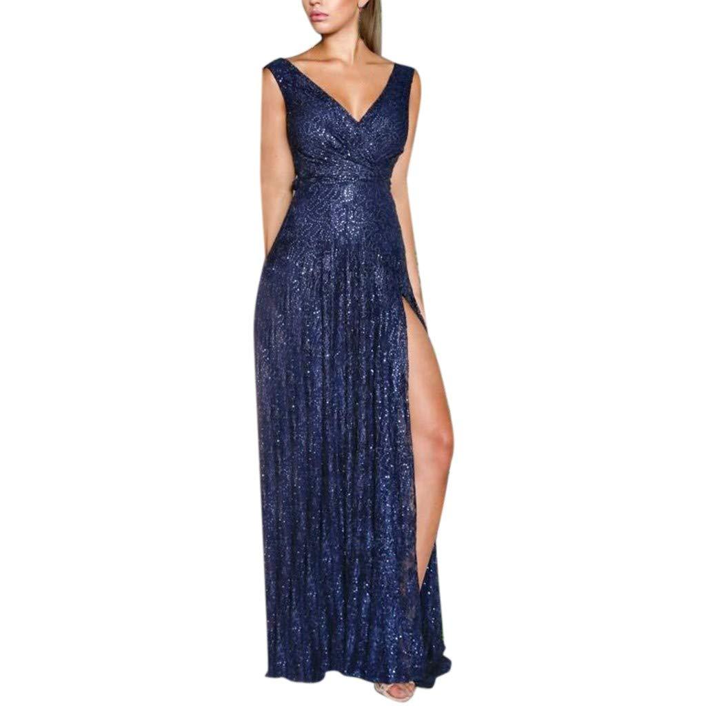 ✿✿ Amlaiworld Spitze Lang Party Sommerkleid Damen Mode Slit Dress Elegant Freizeit V-Ausschnitt Abendkleider Ärmellos Rückenfrei Beauty Kleider