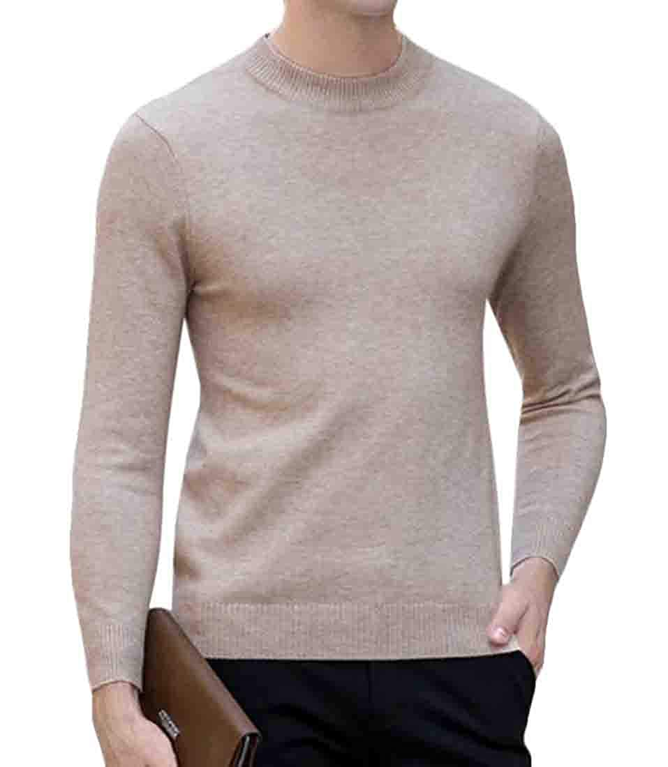 UUYUK Men Winter Knitted Long Sleeve Thick Crew Neck Pullover Sweater