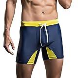 SUNVP Men's Fashion Solid Nylon Splice Swim Shorts (Navy, L)