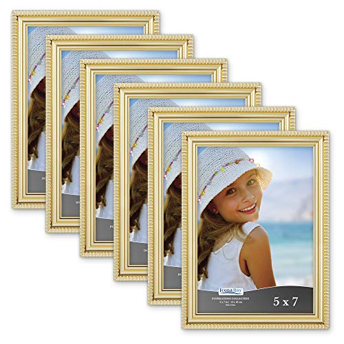 Icona Bay 5x7 Picture Frames (6 Pack, Gold) Picture Frame Set, Wall Mount or Table Top, Set of 6 Inspirations Collection ()