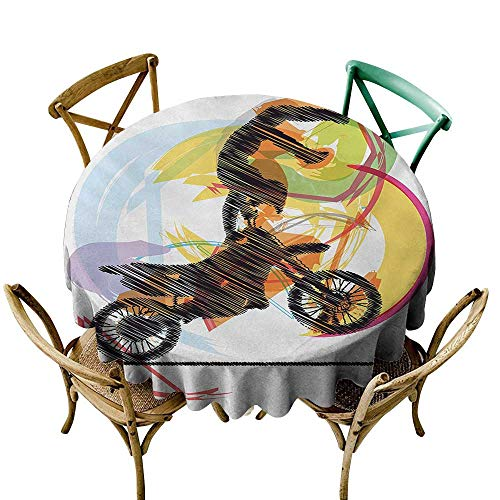 polyester round tablecloth 48 inch Motorcycle,Sketch of Biker Performing Image on Abstract Colorful Background Modern Print,Black Yellow 100% Polyester Spillproof Tablecloths for Round Tables