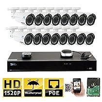 GW 16 Channel H.265 NVR 4MP (2592 x 1520) Power Over Ethernet IP Camera System, 16pcs 4MP 1520p 2.8-12mm Varifocal Zoom POE Weatherproof Bullet Security Cameras, 130ft Night Vision