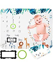 Baby Monthly Milestone Blanket, Soft Comfortable Flannel Blanket with 2 Photo Frames Newborn Boys Girls Photo Background Photography Props Shower Gift for Gender Neutral, 39.37 * 78.74in