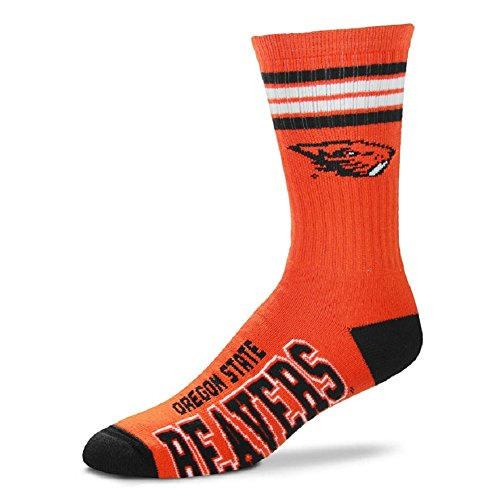 For Bare Feet NCAA 4 Stripe Deuce Crew Men Socks (Oregon State Beavers, Medium (5-10))