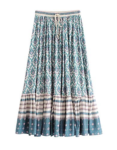 R.Vivimos Womens Summer Cotton Vintage Floral Print Boho Casual Long Skirt (Medium, Green)