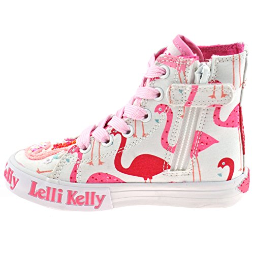 Lelli Kelly LK5090 (BA02) White Fantasy Flamingo Canvas Baseball Boots-33 (UK 1)