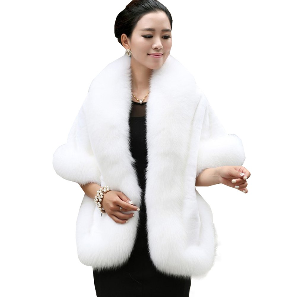 Caracilia Women's Faux Fur Coat Wedding Cape Shawl Evening Party White