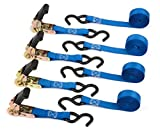 Premium Ratchet Tie Down - 4 Pk - 15 Ft - 500 Lbs Load Cap - 1500 Lb Break Strength - Cargo Straps for Moving Appliances - Lawn Equipment - Motorcycle in a Truck - Cambuckle Alternative - Ergonomic Grip