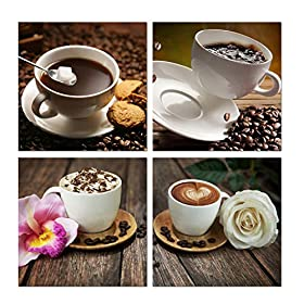 Purple Verbena Art Coffee Bean cup with Flower Pictures canvas prints for Wall Art Modern Giclee HD painting Artwork for coffe bar Shop Kitchen restaurant wall Decor, Stretched and Framed 12×12 inches