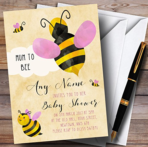 Girls Bumble Bee Cloud Invitations Baby Shower Invitations