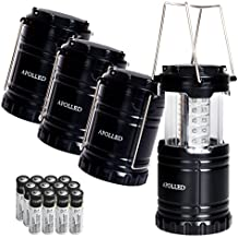 LED Lantern, APOLLED Portable Outdoor 30 LED Ultra Bright Waterproof Camping Lantern with 12 AA Batteries for Hiking, Camping, Emergencies (Black, Collapsible) ¡­