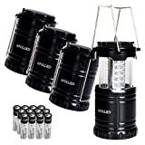 LED Camping Lantern - LED Lantern, APOLLED 4 Pack Portable Outdoor 30 LED Ultra Bright Waterproof Camping Lantern with 12 AA Batteries for Hiking, Camping, Emergencies (Black, Collapsible)