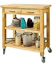 SoBuy® FKW24-N Chariot de Cuisine en bois d'hévéa Kitchen Trolley Desserte roulante avec deux étagères -L80xP40xH90cm