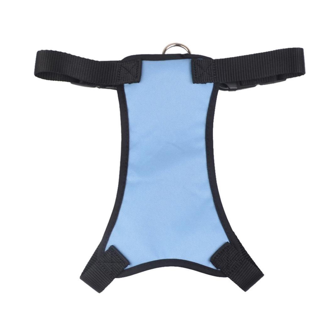 FimKaul Dog Safety Vest Harness, Pet Dog Adjustable Car Safety Mesh Harness Travel Strap Vest with Car Seat Belt Lead Clip Puppy Car Harness Seat Belt (L, Sky Blue)
