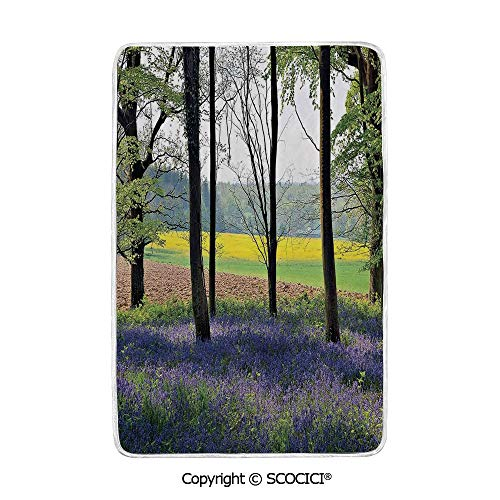 SCOCICI Ultra Comfortable,Cozy and Warm Carpet Blanket Bluebells in Wepham Woods Wildflowers Spring Rural Environment Photo Print No Colour Fading Rug One Side Printed ()