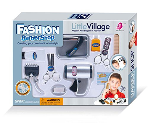 WPS Play Accessories Barber Shop Salon Hairstyle Play Set Kit for Boy Kids Gift a
