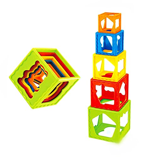 Early Educational Stacking Cube Cups Puzzlement, Color Shape Sorting Stacker Recognition for Preschool (Creative Writing Flip Chart)