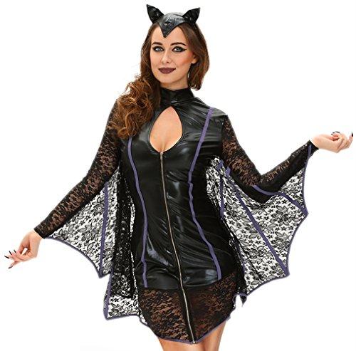 [Cfanny Women's Cozy Bat Costume Halloween Hoodie Cosplay Uniforms,Vamp Bat,Small] (2016 Womens Halloween Costumes Diy)