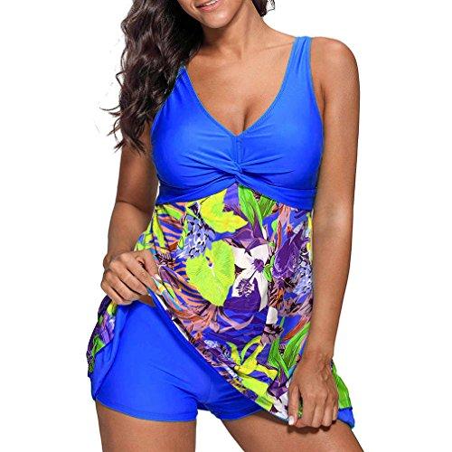 Donna Stampa Intero Moda Donna Sexy Costumi Tankini 5XL Plus Pezzi S Elegante Blu Costume Junkai Da Size Due Bagno Pantaloncini aIndBvIw