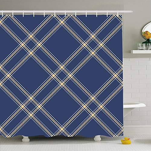 Ahawoso Shower Curtain 66x72 Inches White Blue British Tartan Patterns Blueyellow Colors Abstract Yellow Celtic Check Classic Flannel Waterproof Polyester Fabric Set with -