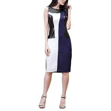 994743c8b4a Meijunter Women Slim Midi Dress Round Neck Sleeveless PU-leather Splice  Mixed Color Skirt