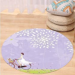 Kisscase Custom carpetCartoon Girl Riding Bike Windy Weather in the Garden with Grass Art for Bedroom Living Room Dorm Apple Green White and Purple Grey