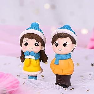zhaibiao-us 1 Pair Fairy Garden Micro Landscape Couple Miniature Figurine Boy and Girl Bonsai Fairy Garden Accessories DIY Dollhouse Couple Dolls Model Ornaments (Blue Hat)